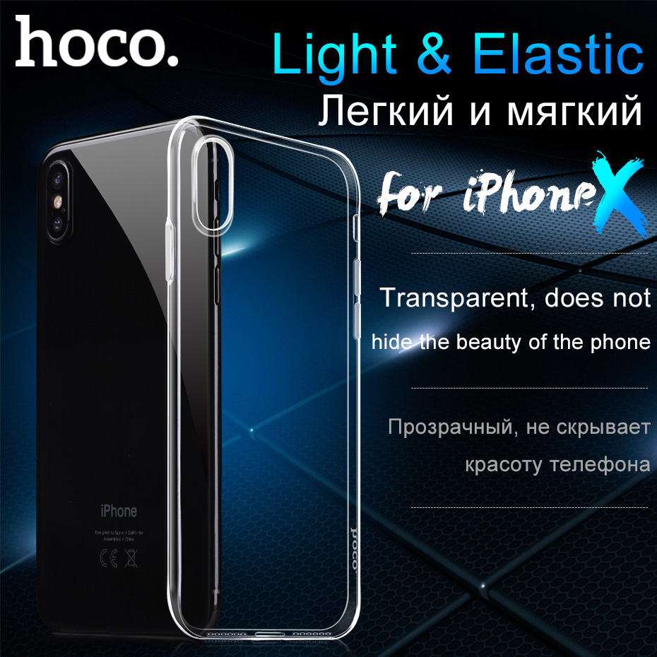 HOCO D'origine Transparent Housse De Protection pour iPhoneX Ultra mince Protection Molle Claire TPU Cas pour Apple iPhone X Slim shell