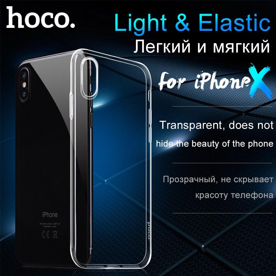 HOCO D'origine Transparent Housse De Protection pour iPhoneX Ultra mince Protection Molle Claire TPU Cas pour Apple iPhone X Slim shell