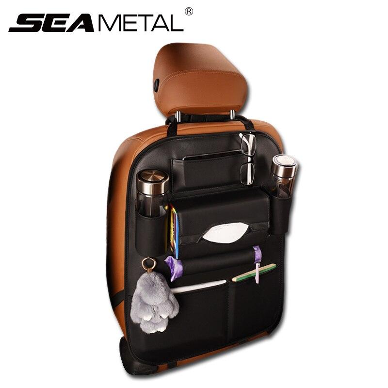 Car <font><b>Seat</b></font> Back Storage Bag PU Leather Stowing Tidying BackSeats <font><b>Covers</b></font> Bags Automobile Organizer Travel Pocket Universal For KIA