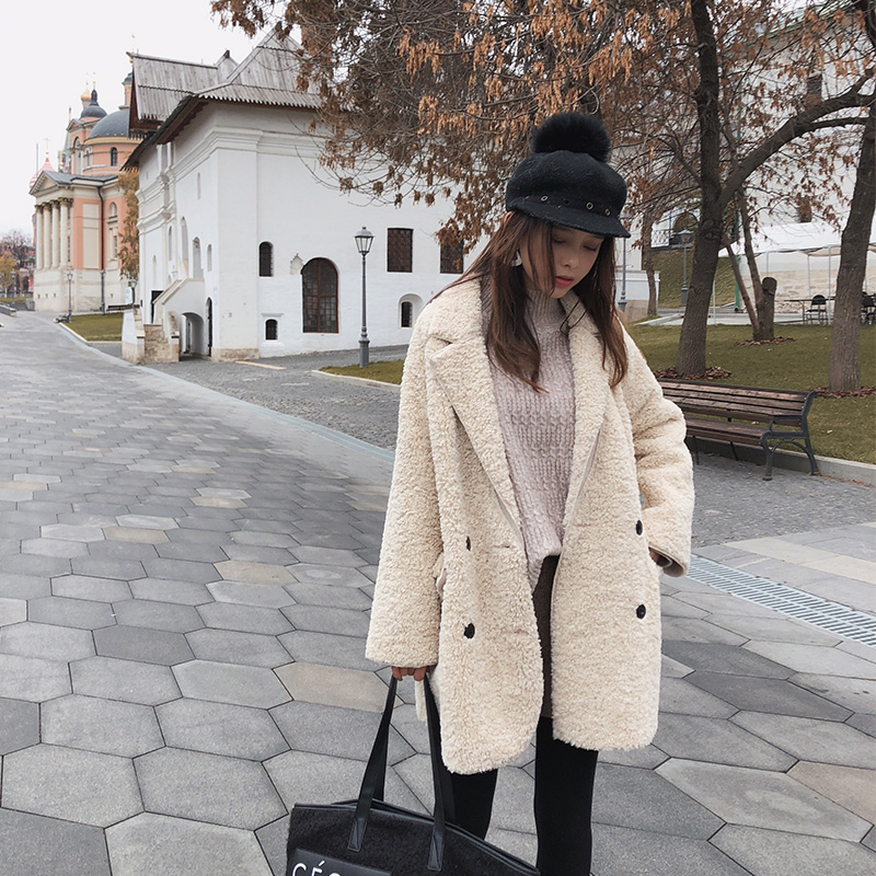 Mishow solid coat 2018 Winter long sleeve office lady double breasted Jacket MX18D6508