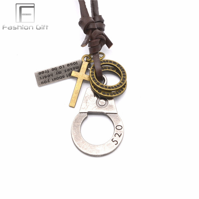 Fgifter lovers necklaces 520 1314 handcuff pendant necklace leather fgifter lovers necklaces 520 1314 handcuff pendant necklace leather chain adjustable size cross words alloy aloadofball Image collections