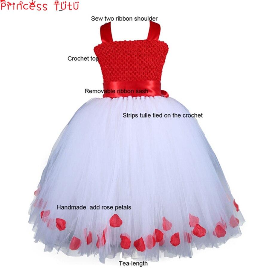 Robe de noël fille douce pétales de Rose robe de bal robes de fête Saint valentin Costume arc filles robes enfants vêtements w177