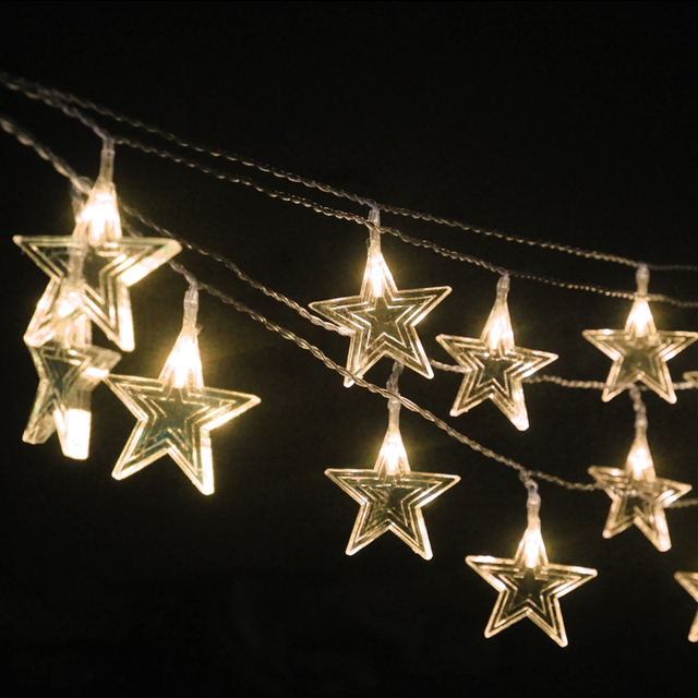 10m Waterproof Plastic Star Outdoor Lighting String Decorations For Bedroom Window Christmas Tree Wedding Birthday Party H 10