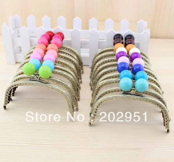 10pcs high quality 12cm candy ball bronze metal purse frame completed holes mixed color wholesale freeshipping - Metal Purse Frames