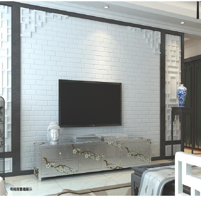 € 23.09 15% de réduction|Vente chaude papier peint classique moderne 3D  brique blanche papier peint rouleau pour salon chambre papel de parede ...