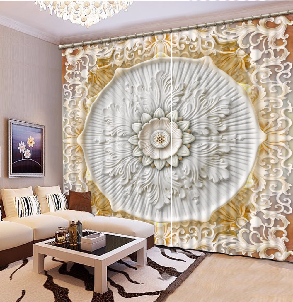 modern luxury european curtains  living room bedroom design pattern thick blackout curtains