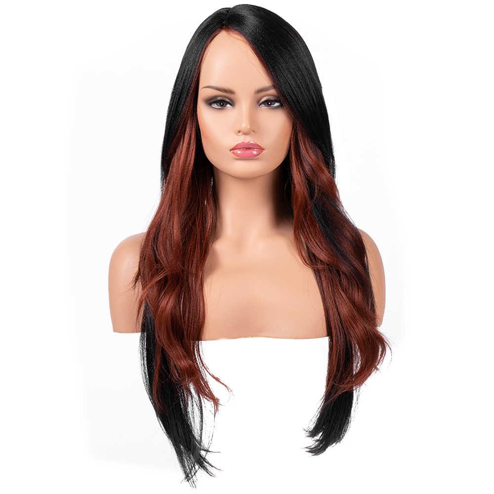 Bestung 24 Inch Renda Sintetis Wig Bagian Sisi Panjang Bergelombang untuk  WANITA HITAM 6b2578b843