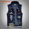 New Men's Denim Vest Patch Designs Sleeveless Jean Jacket Men Punk Rock Singer Costume Men Motorcycle Vest Harley G263