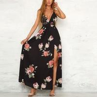 Lily Rosie Girl Sexy V Neck Floral Print Women Maxi Dresses Summer 2018 Beach Long Vestidos