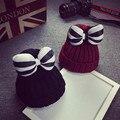 Femme skullies осень шапочки зима теплая вводная часть женщин бантом шляпа женский шерсть вязаная шапка дамы капот