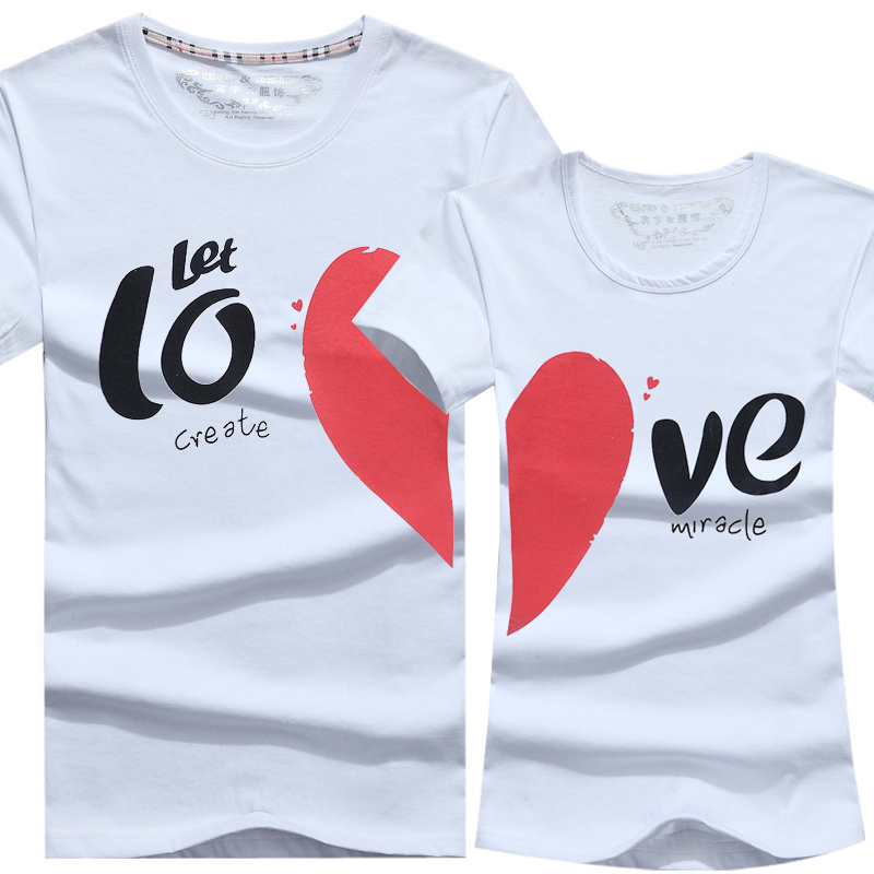Lovers Clothes Men Women Fashion Couple T Shirt 2015 New Hot Heart Shape Cartoon Casual Novelty Clothes For Lover Free Shipping