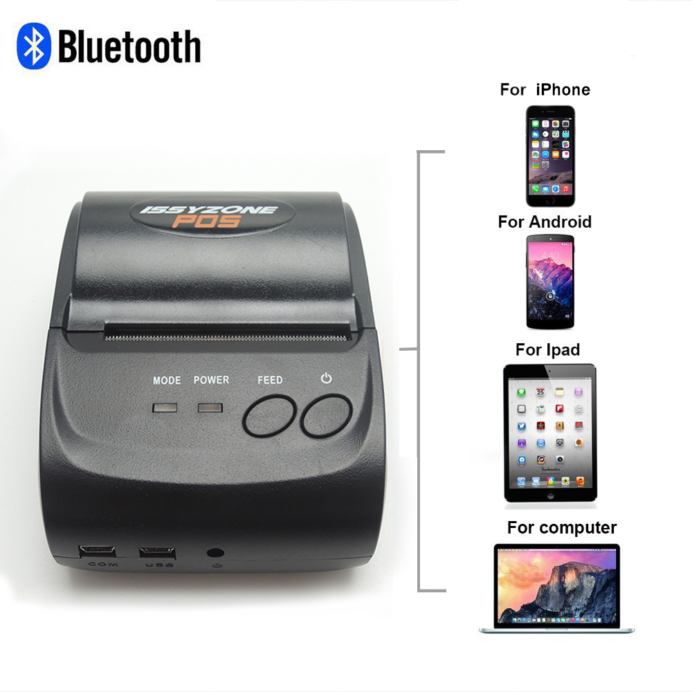 ISSYZONEPOS Portable 58mm Bluetooth Thermal Printer Mobile Mini Receipt Printer Handheld Pos Printer Android iOS Thermal Printer freeshipping mini bluetooth thermal printer 80mm receipt ticket printer pos printer machine for thermal printer android ios