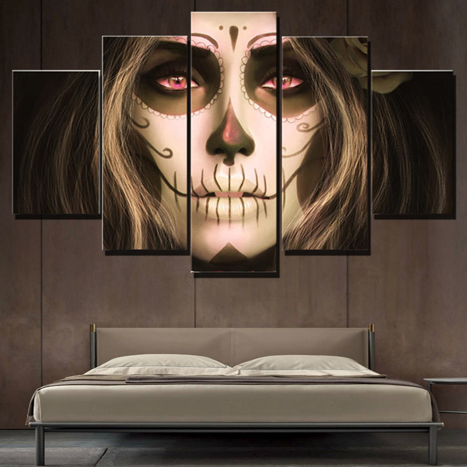 Living Room Wall Art Pictures HD Printed 5 Panel Skull Girl Red Eyes Modern Painting On Canvas Home Decoration Posters Frame in Painting Calligraphy from Home Garden