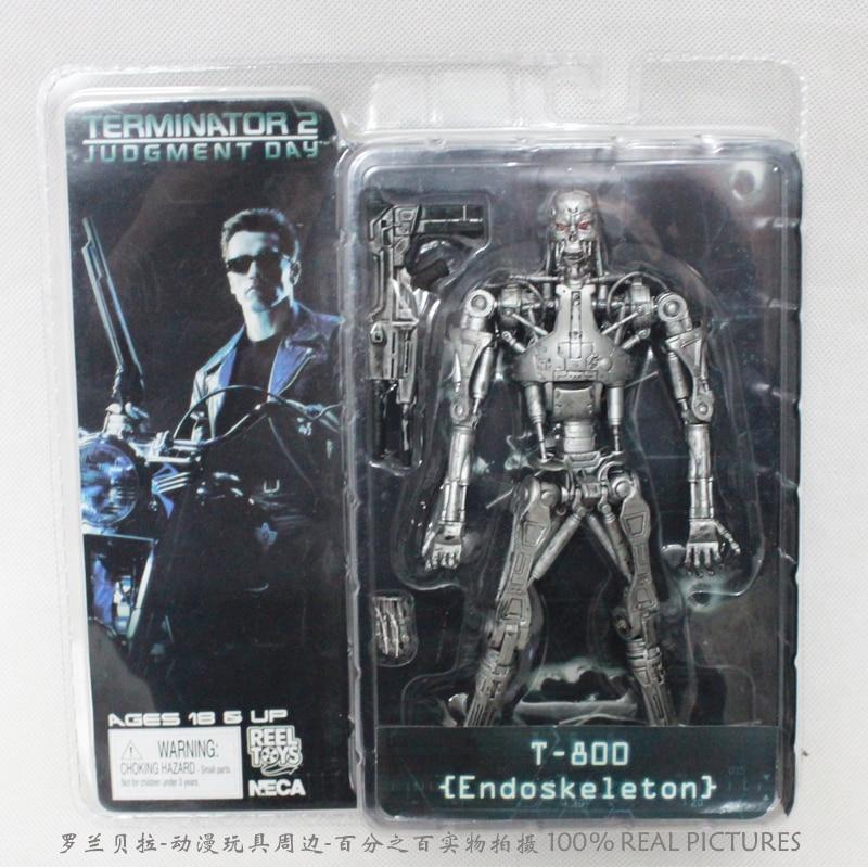 "ФОТО free shipping neca terminator 2 judgment day t-800 endoskeleton pvc action figure robot toys 7"" 18cm"