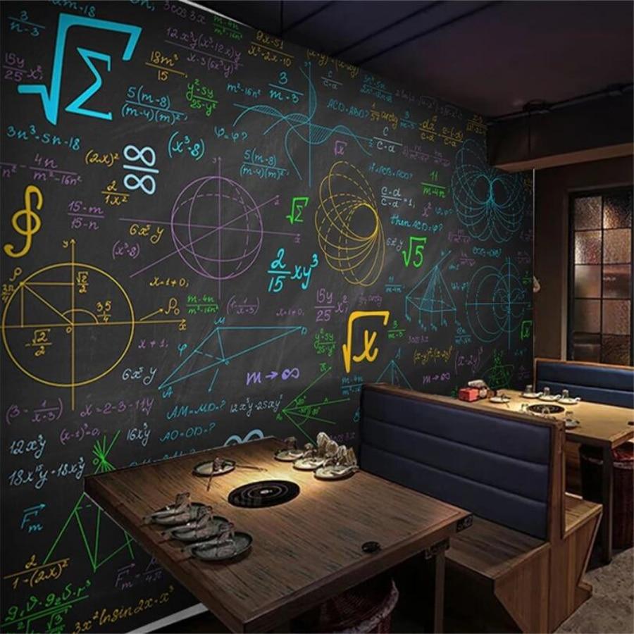 Beibehang カスタム壁紙 3d 壁画数学式色チョーク黒板背景の壁リビング