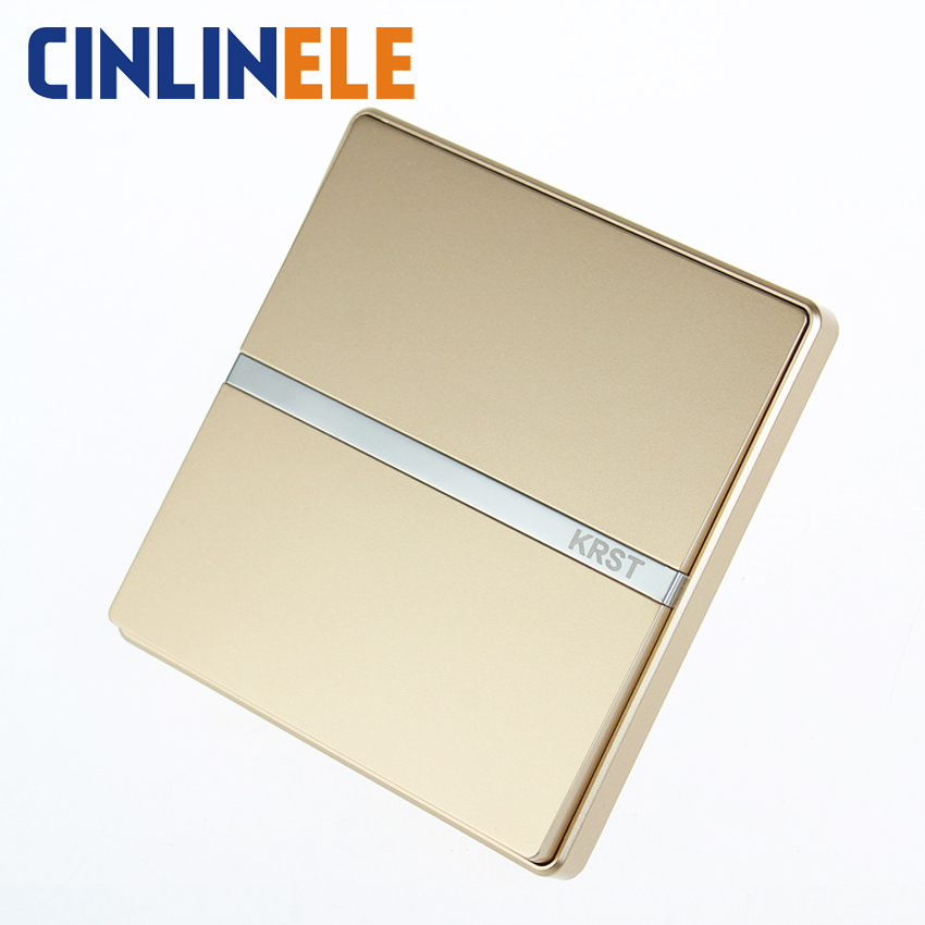 Luxury Wall Switch 1 Gang 3 Way GOLD Brief Art Weave Light Switch AC 110~250V  10A No border design 86mm * 86mm luxury champagne gold wall switch round button switch 3 gang double control light switch simple and fashion 86mm 86mm