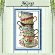 Элегантная, кофейные чашки, Счетный принт на холсте DMC 14CT 11CT Наборы для вышивания крестиком, Набор для вышивания, ручная работа, домашний декор