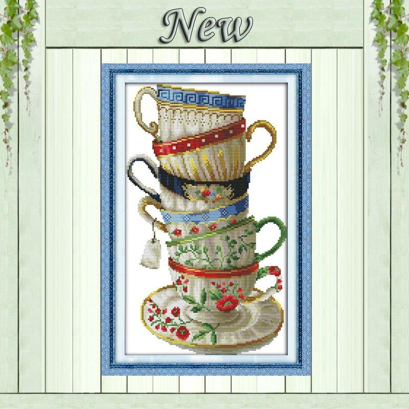 Élégant café tasse, compté impression sur toile DMC 14CT 11CT Point De Croix kits, broderie couture Ensemble, main fait Artisanat Décor À La Maison