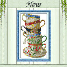 Elegant coffee cup,counted print on canvas DMC 14CT 11CT Cross Stitch kits,embroidery needlework Set,hand made Crafts Home Decor(China)