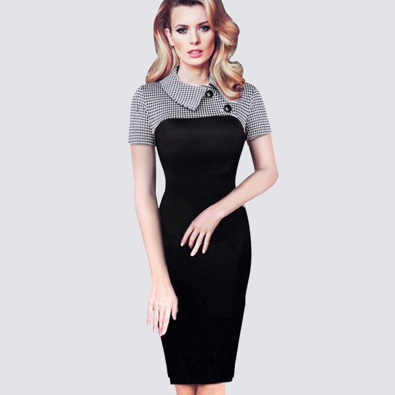 Винтажное женское вязаное лоскутное платье, элегантное офисное деловое облегающее платье-карандаш B238