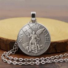 fbc14e61c3d 1pcs dropshipping men necklace Archangel St.Michael Protect Me Saint Shield  Protection Charm russian orhodox pendant