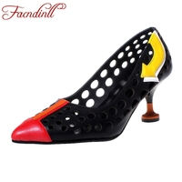 FACNDINLL Genuine Leather Shoes Woman Pumps Fashion High Heels Pointed Toe Cut Outs Sexy Party Dress