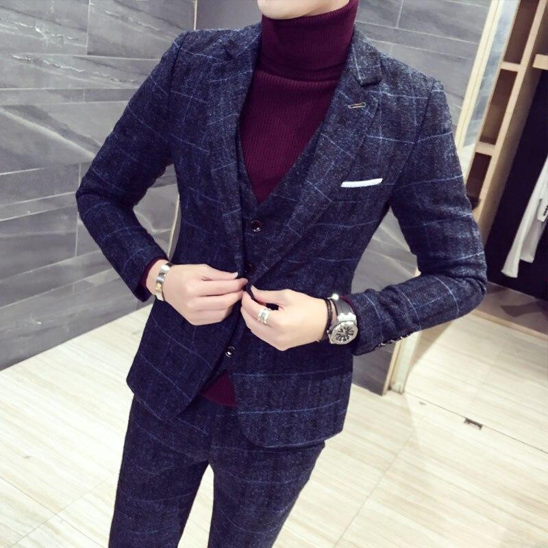 Asian size Lapel Plaid Designs Men Suit Casual silm fit Groom Tuxedos Wedding 3 Piece Suits Best Man Blazer (Jacket+Pants+Vest)(China)