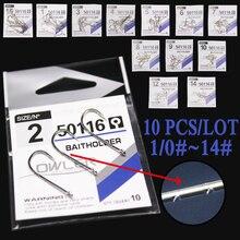 10pcs/lot 1/0#-14# Carbon Steel Fishing Hooks Baitholder white Color Jig Head Crank Barbed Hook for Soft Worm Bass Carp owner