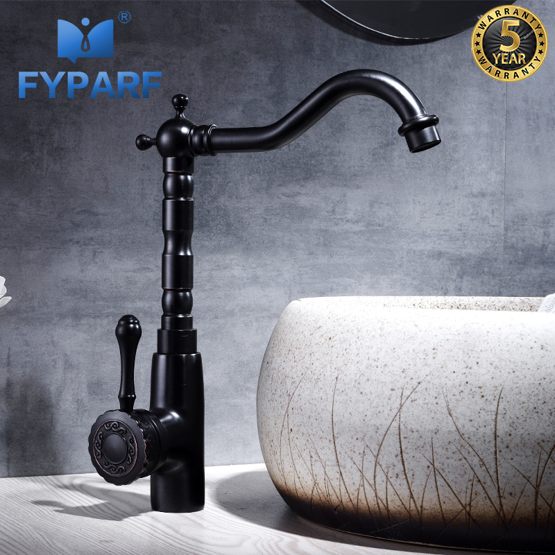 FYPARF Designer Bathroom Sink Faucets Hot and Cold Faucet Basin Mixer Sink Water Tap Black Antique Brass Sink Faucet Mixer Taps-in Basin Faucets from Home Improvement    1