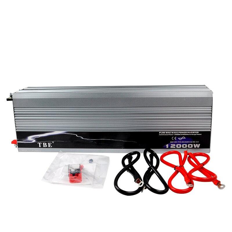 Высокое качество авто 12000 Вт 12000 Вт Чистая синусоида Мощность инвертор DC 12 В/24 В к AC 220 В автомобильный преобразователь адаптер Инвертор + USB