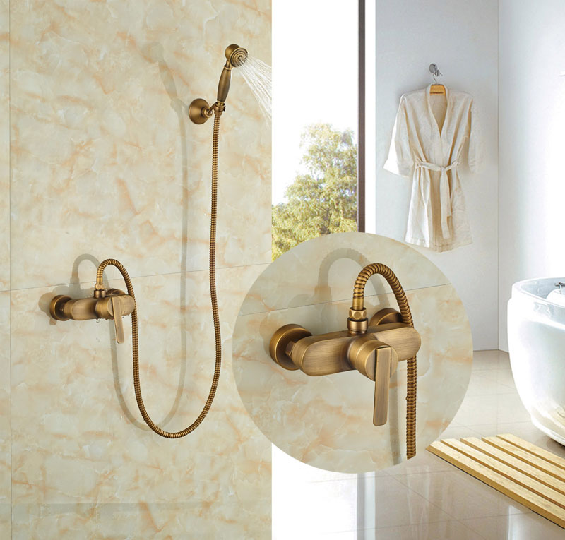 ФОТО Wideapread Bathroom Antique Brass Shower Set Single Handles W/Hand Shower Tap Hot&Cold Faucet