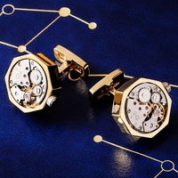 MAISHENOU Mechanical Movement Shirt Punk Cufflinks for Men's Brand Cuff links Buttons High Quality Free Shipping Color Gold