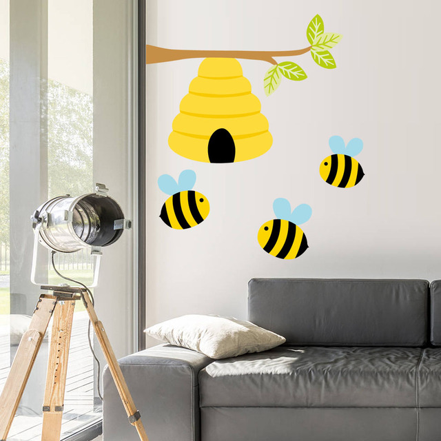 Cute Bee Plant Wall Decals Honey Stickers For Kids Room Nursery Modern Home Decor Vinyl