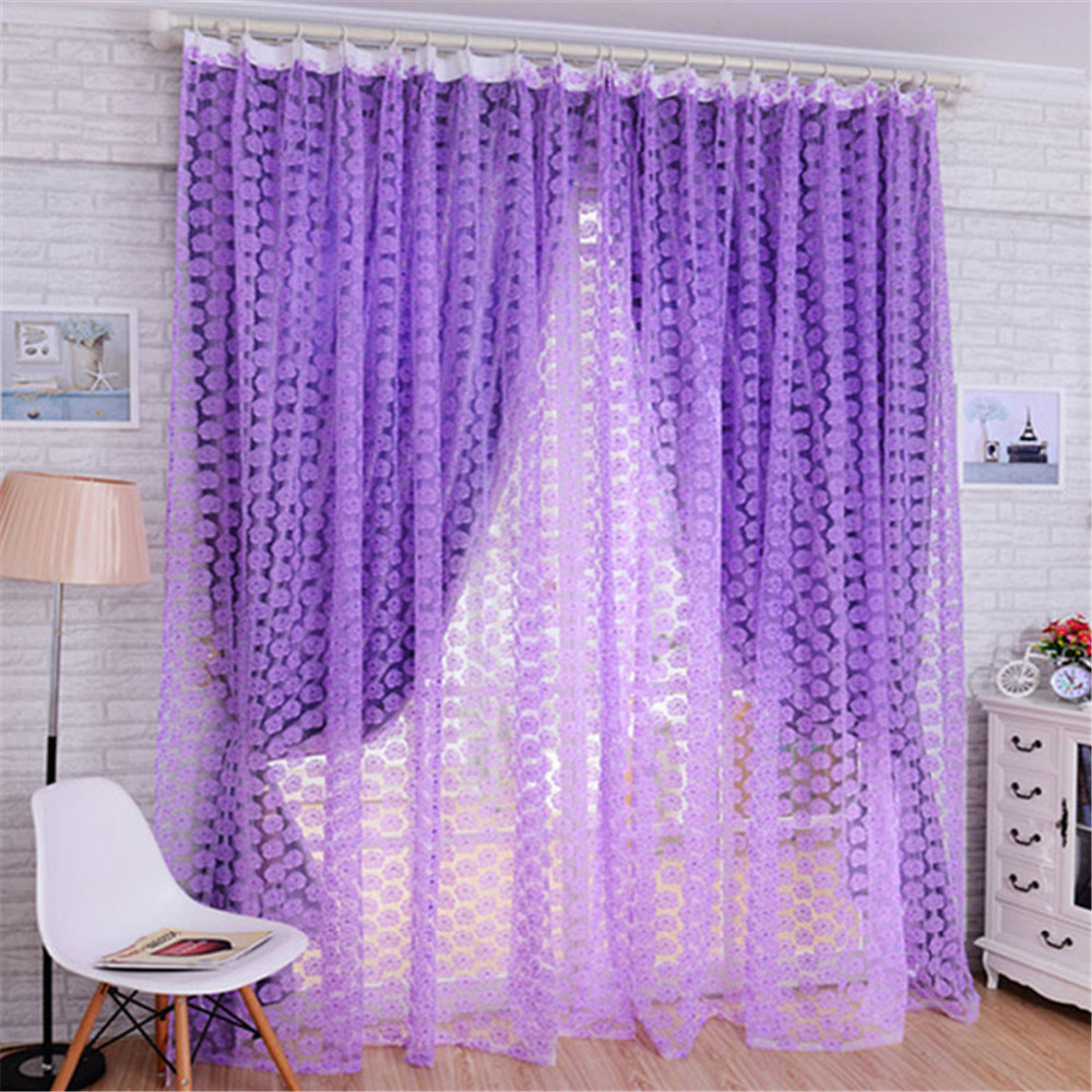 curtain top treatment curtains grommet window idea purple patterned dark interior plush decofurnish designs for panels