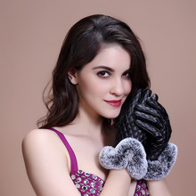 Женские зимние Утепленные перчатки из искусственной кожи с сенсорным экраном, ветрозащитные перчатки для девочек, меховая ткань для езды на велосипеде, теплые меховые варежки
