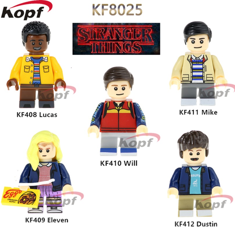 KF8025 Single Sale Stranger Things Super Heroes Eleven Lucas Will Mike Dustin Bricks Building Blocks Action Children Gift Toys super heroes single sale eleven stranger things mike will dustin building blocks children gift toys collection bricks kf409
