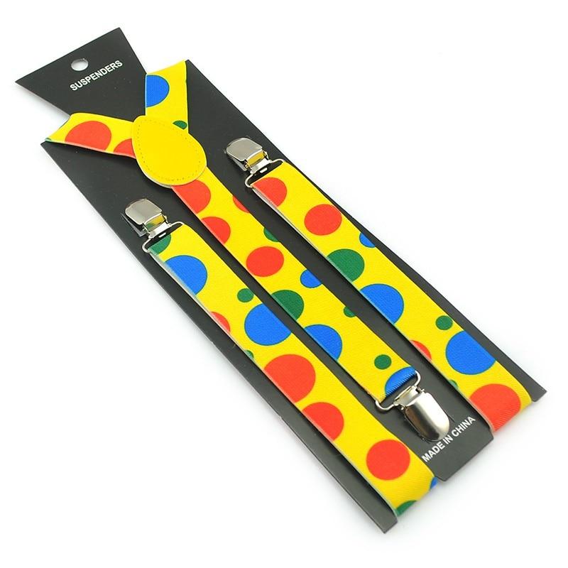 Women Men'S Shirt Suspenders For Trousers  Cartoon Colorful Rainbow Big Dot Pants  Braces Adjustable Elastic Y- Back Suspenders