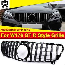 Fits For MercedesMB W176 GTR Style grille grill Sport A45AMG look A-Class A180 A200 A250 Front bumper ABS Silver 2016-18