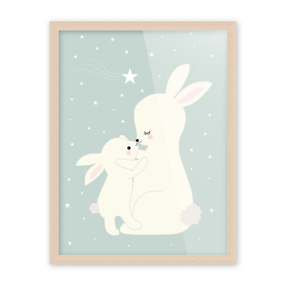 HJIAART Nordic Kawaii Cartoon Animal Deer Bear Rabbit Poster A4 Baby Kids Room Wall Art Print Canvas Painting Home Deco No Frame