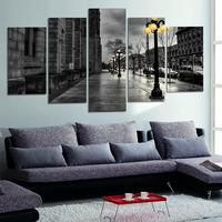 Modern Style Abstract Painting Canvas Retro City Street Landscape Pictures Decorative Painting Wall Art No Frame
