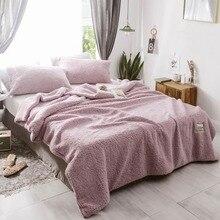 Svetanya Mauve Pink Solid Blanket Duvet Cover 3pcs Set Throws Thick Warm Berber Fleece Polyester Twin Queen Winter Bedsheet