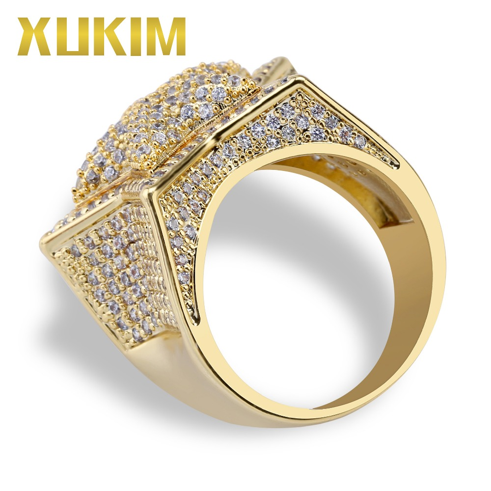 Xukim Jewelry Hip Hop Gold Silver Color Five Star Finger Rings for Men Women Cubic Zirconia Full Iced Out Jewelry Party Gifts in Rings from Jewelry Accessories