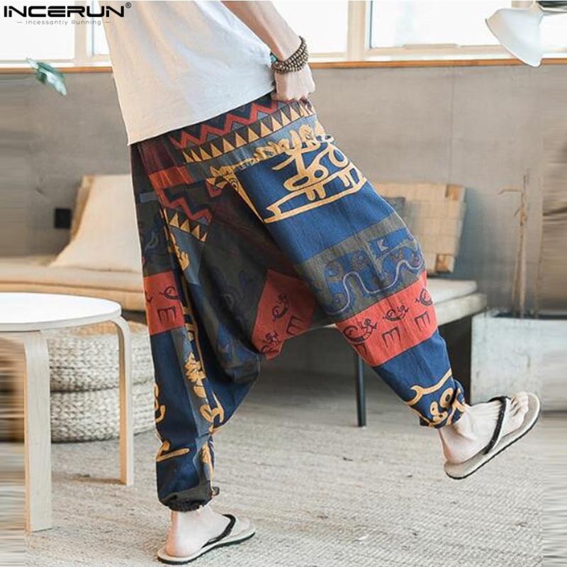 Ethnic Retro Men's Cross-Pants Wide Leg Linen Harem Pants Men Elastic Waist Loose Print HipHop Pants Man Joggers Crotch Trousers