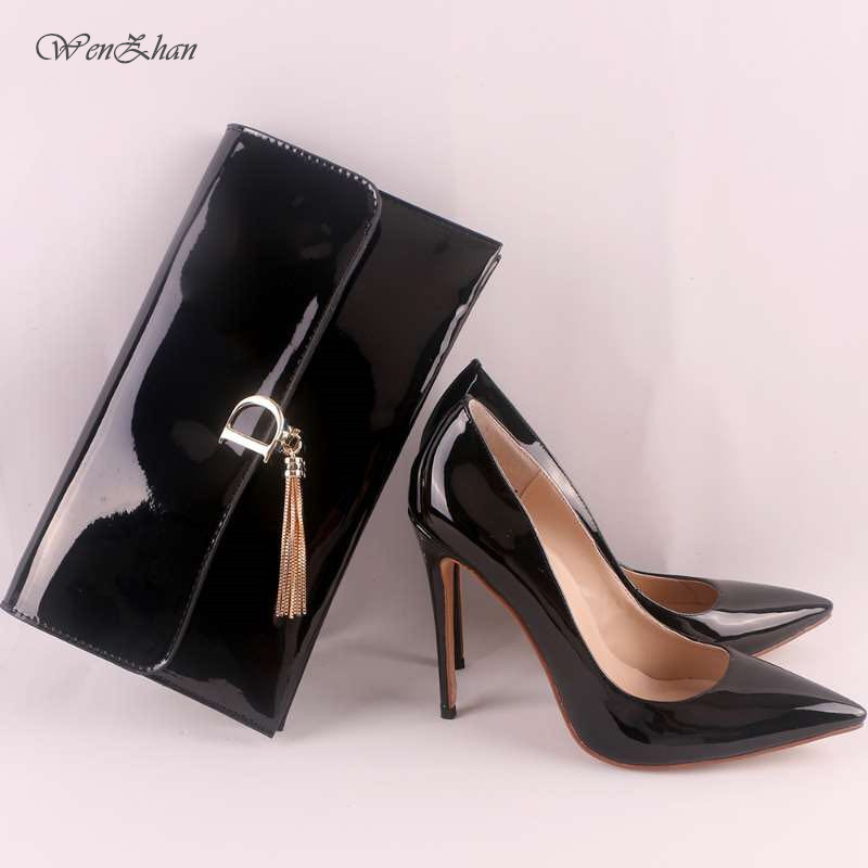 WENZHAN Women's High Heels Women Sexy Pumps With Handbag,Thin Heel Pointed Toe Match Women Gripesack Apply For Any Occasion11 30