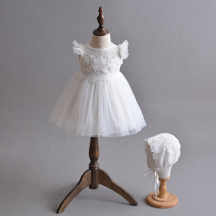 Newborn Christening Dress with Bonnet Lace Baptism Frock Summer Baby Girl Outfits Embroidered Tulle Dresses White Vestidos A015