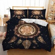 Altın renkli Dreamcatcher nevresim seti yorgan kapak yatak takımı 3 adet