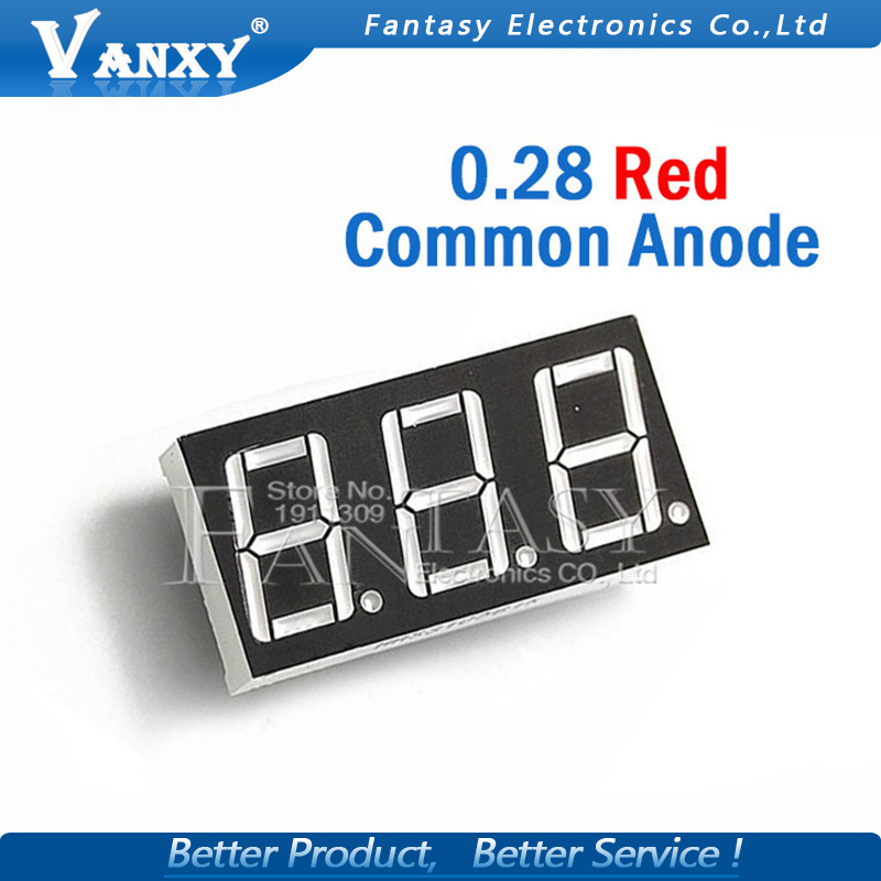 5pcs 7 Segment 0.28 In Common Anode 3 Bit Digital Tube 0.28