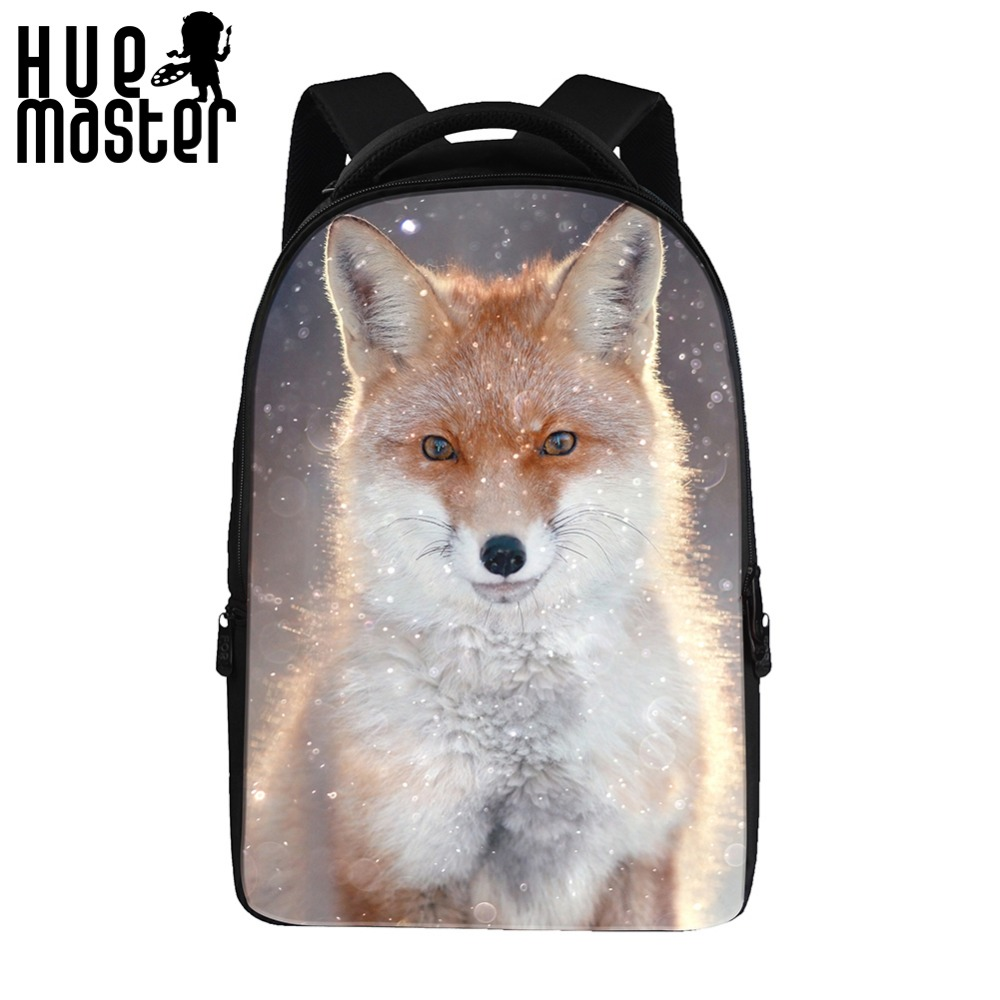 17inch notebook computer backpacks fox pattern double shoulder bag for male female girls boys student polyester
