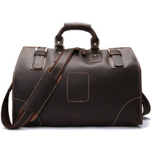 European American fashion Men's handbags business travel Crazy horse leather large-capacity single shoulder bag Leisure
