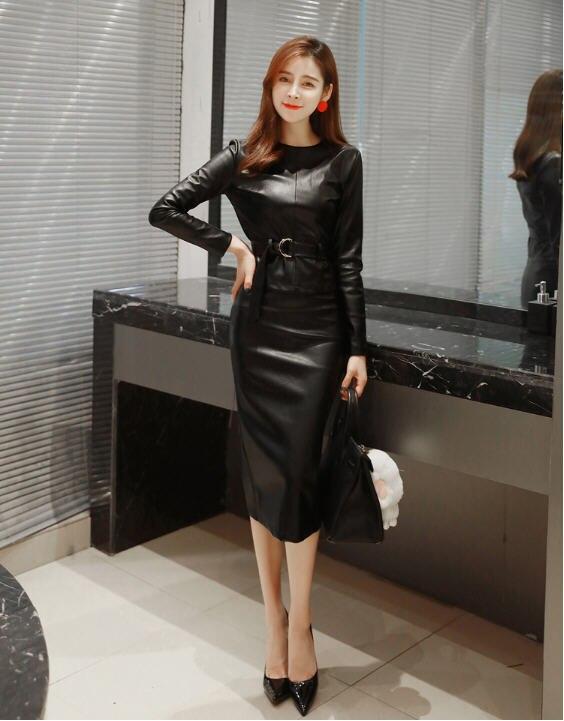 2018 herbst Winter Koreanischen Damen Langarm-bluse + Bleistift Rock Zweiteilige Leder Set frauen OL Arbeit büro Kleidung A1524